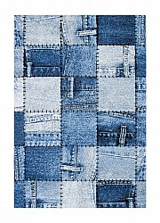 Teppich 200 x 290 cm (wilton) - Indigo Denim Patch (blau)