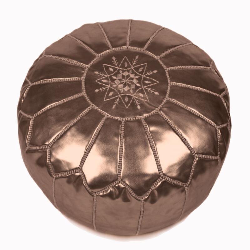 Pouf Leder sitzpoufs marokkanischer leder pouf bronze