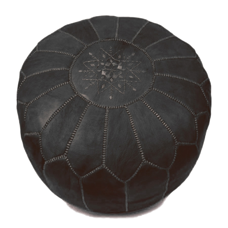 sitzpoufs marokkanischer leder pouf schwarz. Black Bedroom Furniture Sets. Home Design Ideas